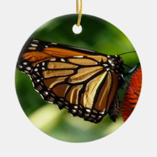 Butterfly close up round ceramic ornament