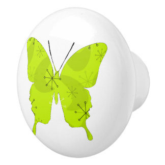 Butterfly Collage Atomic Green Ceramic Knob