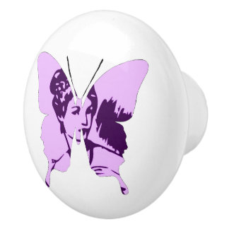 Butterfly Collage Cameo Ceramic Knob