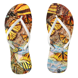 Butterfly collage flip flops