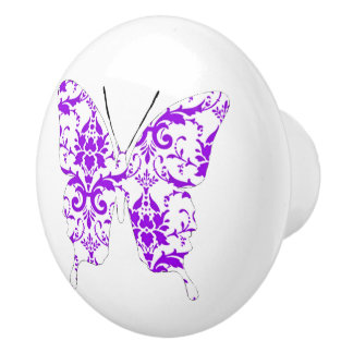 Butterfly Collage Purple Damask Ceramic Knob