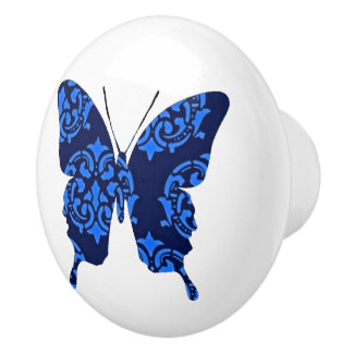 Butterfly Collage Victorian Blues Ceramic Knob