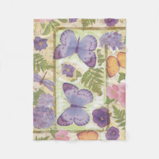Butterfly Collage with Flowers and Dragonfly Fleece Blanket