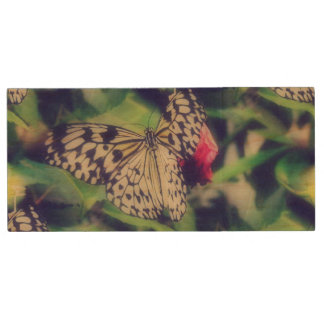 Butterfly Collage Wood USB Flash Drive