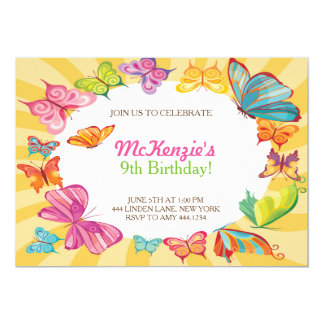 Butterfly Colorful Birthday Party Invitations