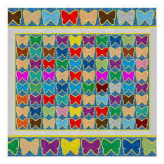 Butterfly Colorful Pattern Art for KIDS ROOM Play Perfect Poster