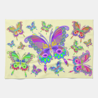 Butterfly Colorful Tattoo Style Kitchen Towel