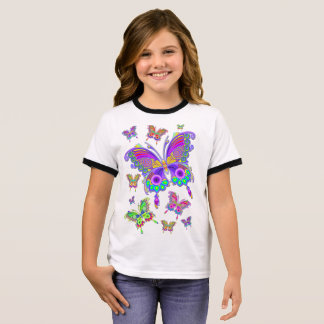 Butterfly Colorful Tattoo Style Ringer T-Shirt