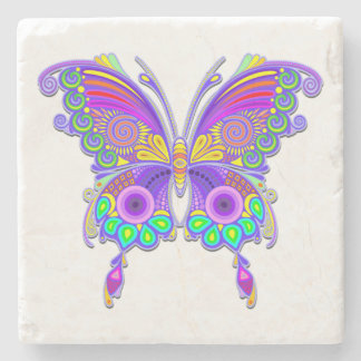 Butterfly Colorful Tattoo Style Stone Coaster