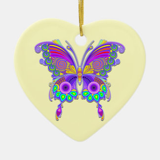 Butterfly Colourful Tattoo Style Ceramic Heart Ornament