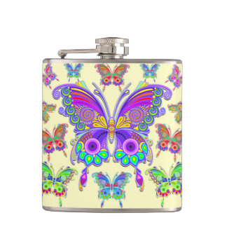 Butterfly Colourful Tattoo Style Flask