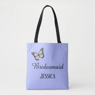 Butterfly Custom Purple Bridesmaid Tote Bag