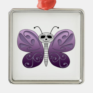 Butterfly Day of the Dead Design Silver-Colored Square Ornament