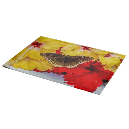 "Butterfly Decorative Glass Chopping Board 15"" x"