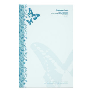 Butterfly & Decorative Ornate Border in Blue Stationery Design