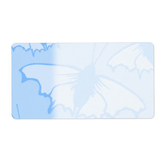 Butterfly Design in Blue. Shipping Label