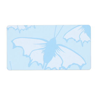 Butterfly Design in Pastel Blue. Shipping Label