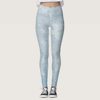 Butterfly design on faded blue jeans look leggings