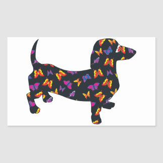 Butterfly Doxie Dachshund Rectangle Sticker