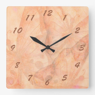 Butterfly Dream in Peach Square Wall Clock