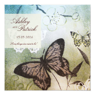 Butterfly Dream Wedding 5.25x5.25 Square Paper Invitation Card