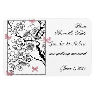 Butterfly Dreams: Dusty Rose Wedding Save the Date Vinyl Magnet