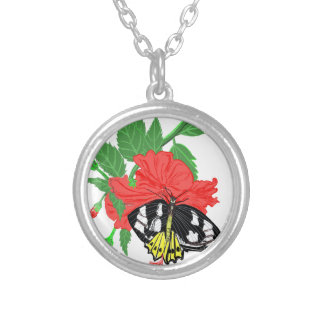 Butterfly Drinking Nectar Silver Plated Necklace
