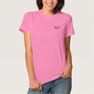 Butterfly embroidered women's t-shirt polo shirts