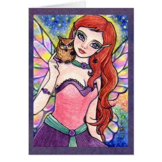 Butterfly Fairy Owl Fantasy Card by Ann Howard