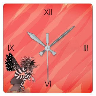 Butterfly Fantasy Elf Cartoon Brownie Fairy Tale Square Wall Clock