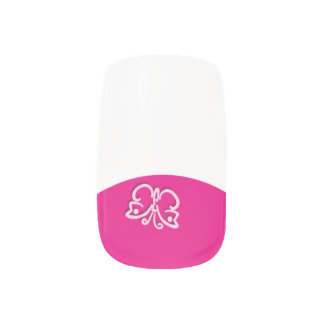 Butterfly Faux French Tip Manicure ANY COLOR Base Fingernail Decals