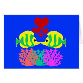 Butterfly Fish kissing over the coral blank card