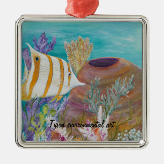 Butterfly fish painting on Silver-Colored square ornament