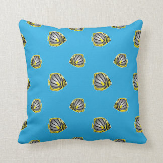 Butterfly-fish pattern throw pillow