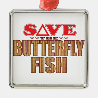 Butterfly Fish Save Silver-Colored Square Ornament