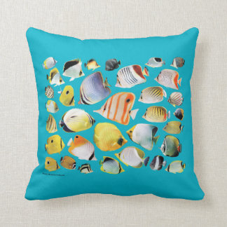 Butterfly fish throw pillows