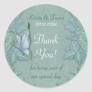 Butterfly Flight Floral Thank You Classic Round Sticker