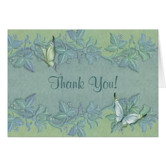 Butterfly Flight Floral Wedding Thank You Card