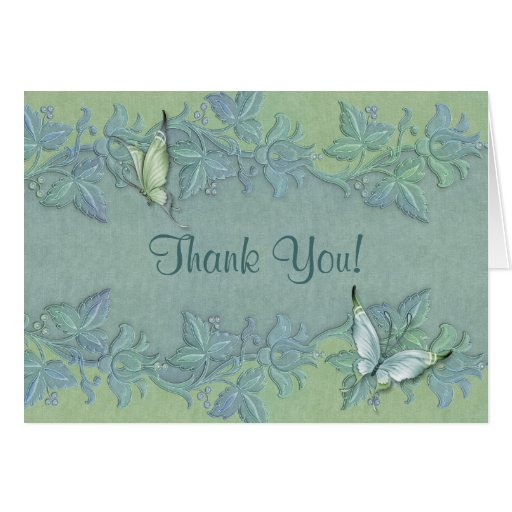 Butterfly Flight Floral Wedding Thank You Greeting Card