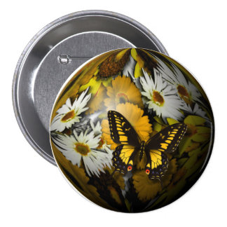 Butterfly Floral 3 Inch Round Button