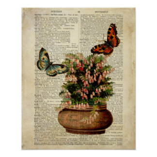 Butterfly floral art on vintage dictionary page Re Poster