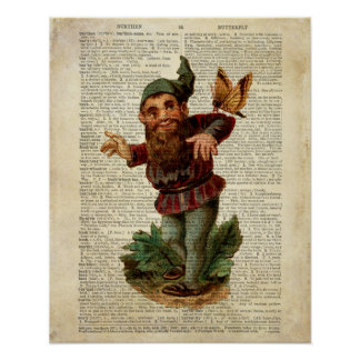 Butterfly floral gnome vintage dictionary page print