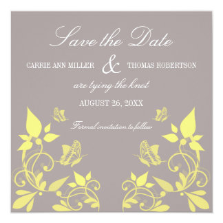 "Butterfly Floral Save the Date Invite, Yellow 5.25"" Square Invitation Card"
