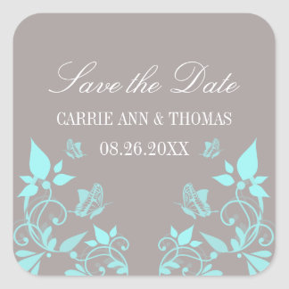 Butterfly Floral Save the Date Stickers, Aqua