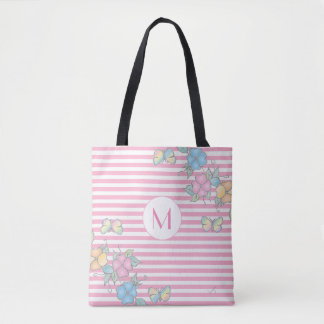 Butterfly Floral Striped Monogram Pink Tote Bag