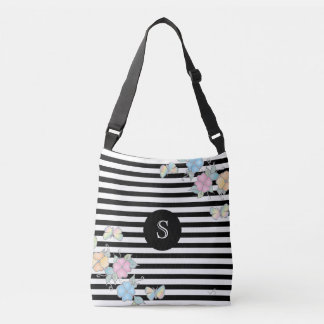 Butterfly Floral Striped MonogramBlack Crossbody Bag