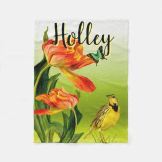 Butterfly Flower Bird Art Personalized Fleece Blanket