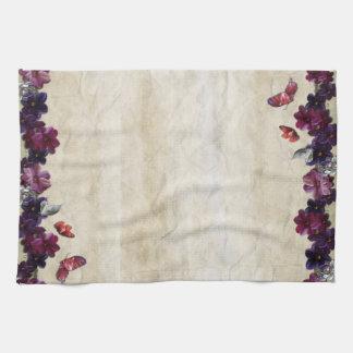 Butterfly & Flower Burlap Vintage kitchen Towel