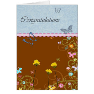 Butterfly Flower Congratulations Card