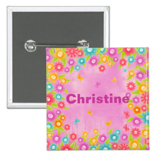 Butterfly flowers customizable name badges 2 inch square button